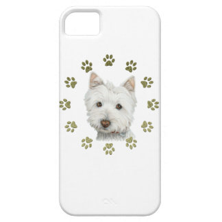 Cute West Highland White Terrier Dog & Paw Prints Case For The iPhone 5