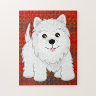 Cute West Highland White Terrier Puppy Dog Jigsaw Puzzle