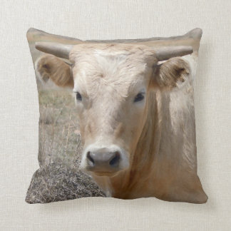 Cute Western Charolais Cow Face Cushion
