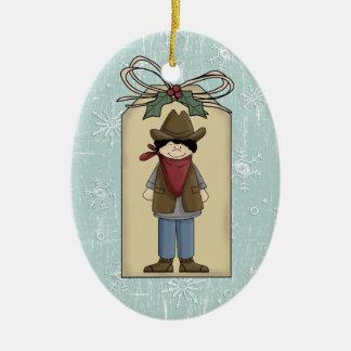 Cute Western Cowboy Gift Tag Keepsake Ceramic Oval Decoration