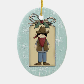 Cute Western Cowboy Gift Tag Keepsake Christmas Ornament