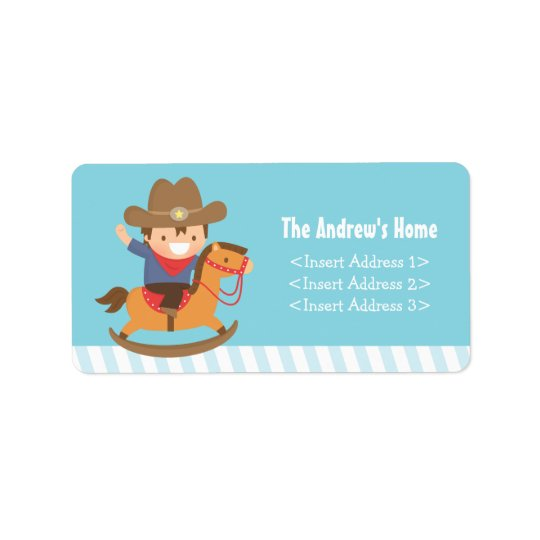 Cute Western Cowboy Kids Birthday Party Address Label