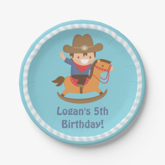 Cute Western Cowboy Kids Birthday Party Supplies Paper Plate
