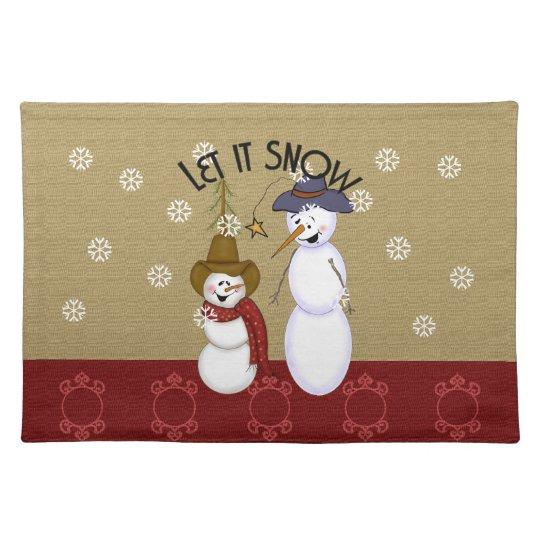 Cute Western Cowboy Snowman Christmas Placemat