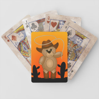 Cute Western Cowboy Teddy Bear Cartoon Mascot Bicycle Playing Cards