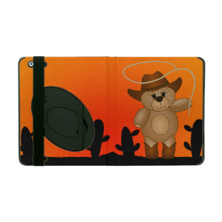 Cute Western Cowboy Teddy Bear Cartoon Mascot iPad Case
