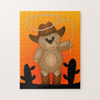 Cute Western Cowboy Teddy Bear Cartoon Mascot Jigsaw Puzzle