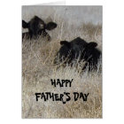 Cute Western Happy Father's Day Cow Calves Card