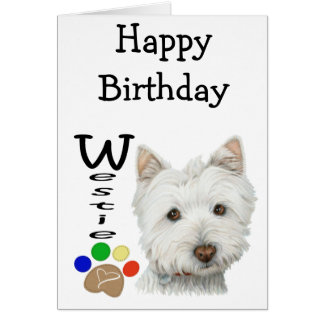 Cute Westie Dog and Paw Art Card