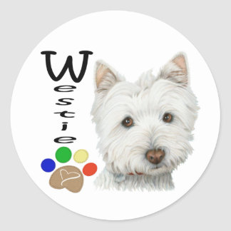 Cute Westie Dog and Paw Art Classic Round Sticker