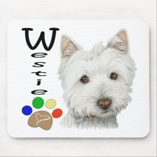 Cute Westie Dog and Paw Art Mouse Mat