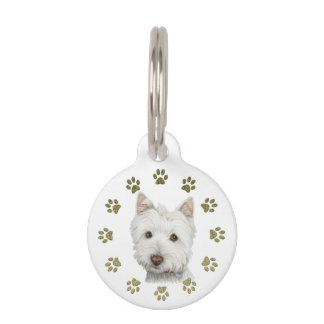 Cute Westie Dog and Paws Art Dog Tag Pet Name Tag