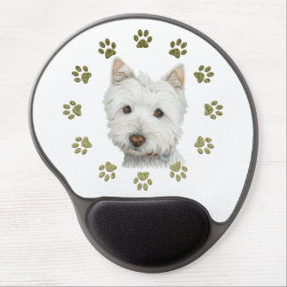 Cute Westie Dog and Paws Art Gel Mousepad Gel Mouse Mat