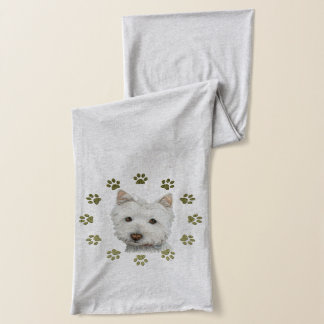 Cute Westie Dog and Paws Art Scarf
