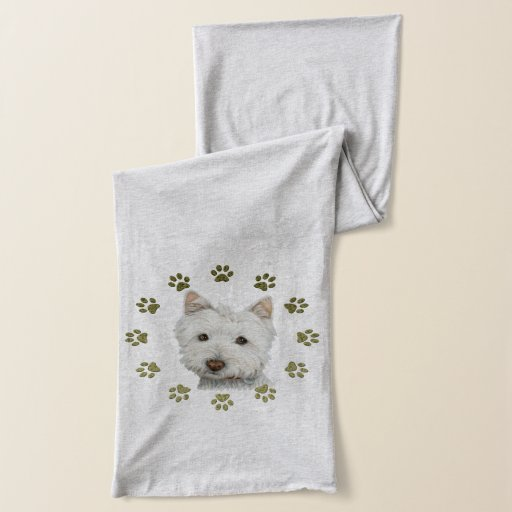 'Cute Westie Dog And Paws Art Scarf