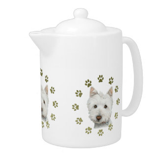 Cute Westie Dog and Paws Teapot