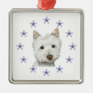 Cute Westie dog art and Christmas Snowflake Silver-Colored Square Decoration