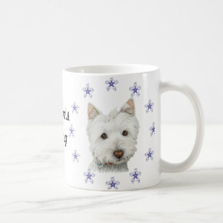 Cute Westie Dog Art and Christmas Snowflakes Basic White Mug
