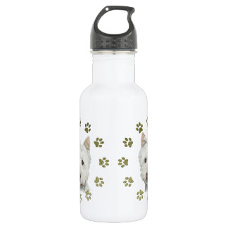 Cute Westie Dog Art and Paws 532 Ml Water Bottle