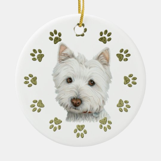 Cute Westie Dog Art and Paws Christmas Ornament