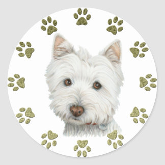 Cute Westie Dog Art and Paws Classic Round Sticker