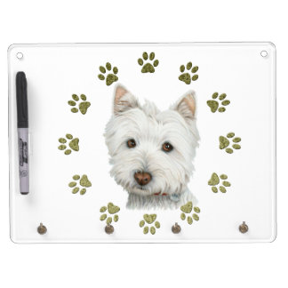 Cute Westie Dog Art and Paws Dry Erase Board With Key Ring Holder