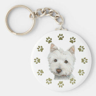 Cute Westie Dog Art and Paws Key Ring