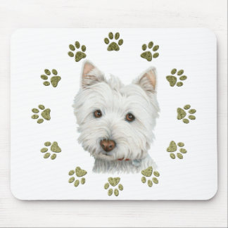 Cute Westie Dog Art and Paws Mouse Pad