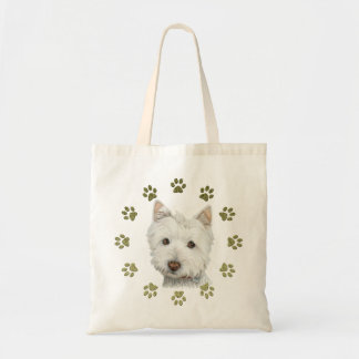 Cute Westie Dog Art and Paws Tote Bag
