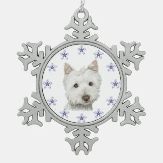 Cute Westie Dog art and Snowflake Ornament