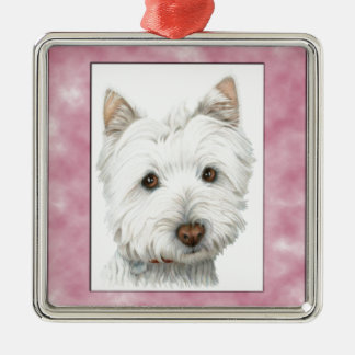 Cute Westie Dog Art in Pink Frame Christmas Ornament