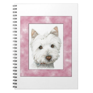 Cute Westie Dog Art in Pink Frame Notebook