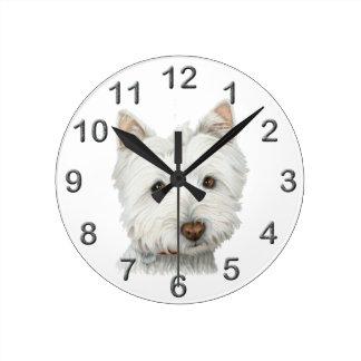 Cute Westie dog art Wall Clock