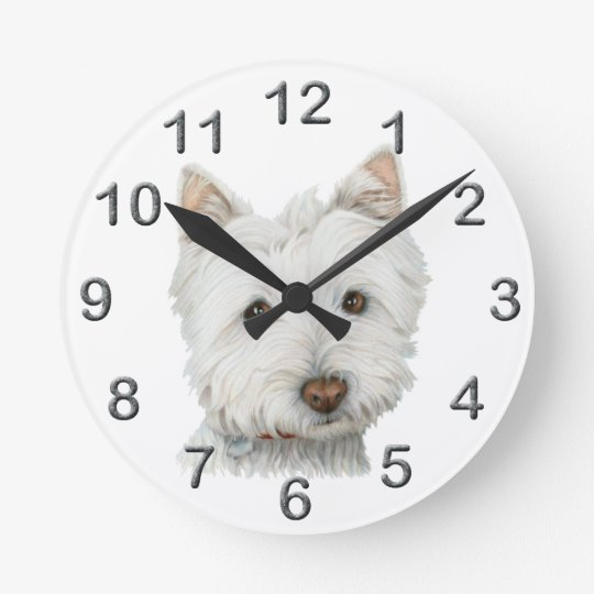 Cute Westie dog art Wall Clock