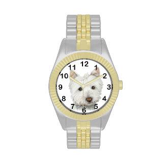 Cute Westie Dog Art Watch