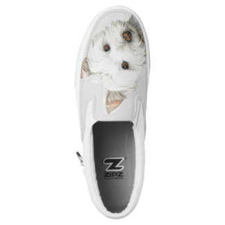 Cute Westie Dog Art Zip Slip on Shoes Printed Shoes