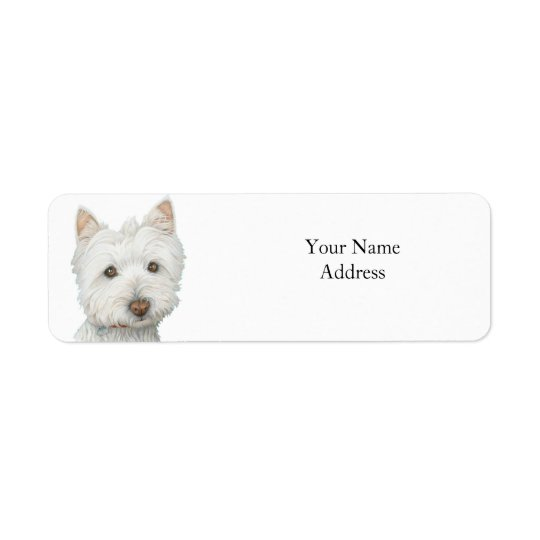 Cute Westie Dog Avery Label