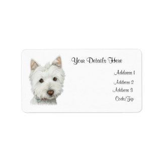 Cute Westie Dog Avery Label Address Label