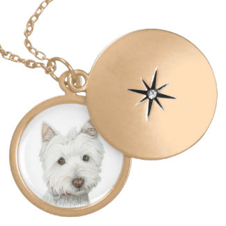 Cute Westie Dog Gold Necklace