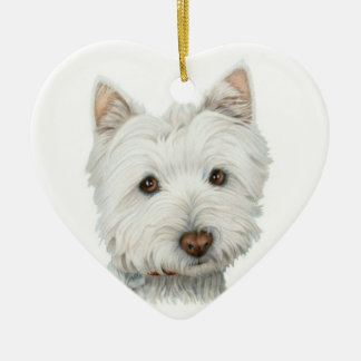 Cute Westie Dog Heart Ornament