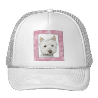 Cute Westie Dog in Pink Frame Art Cap