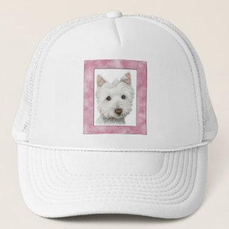 Cute Westie Dog in Pink Frame Art Trucker Hat