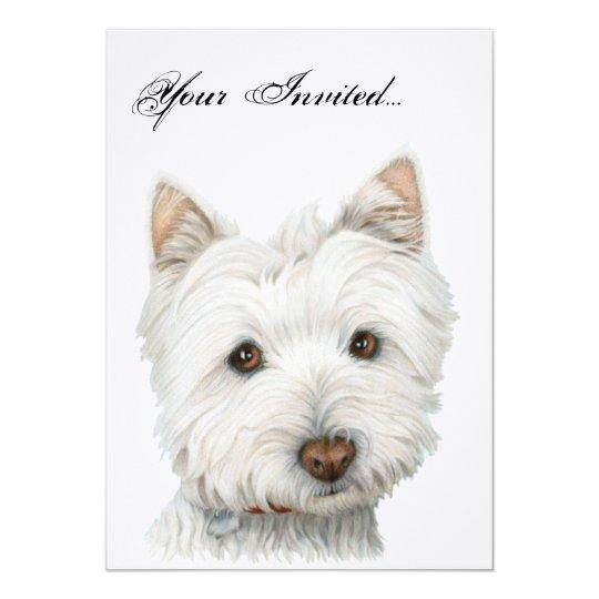 Cute Westie Dog Invitation Card