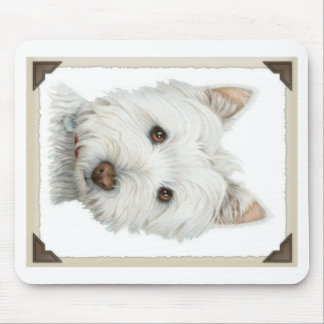 Cute Westie Dog with torn paper edges design Mouse Mat