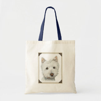 Cute Westie Dog with torn paper edges design Tote Bag