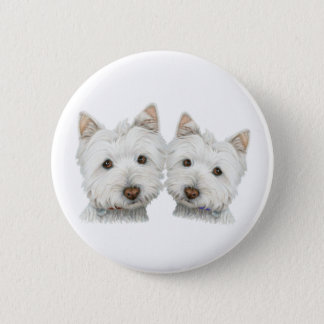 Cute Westie Dogs 6 Cm Round Badge