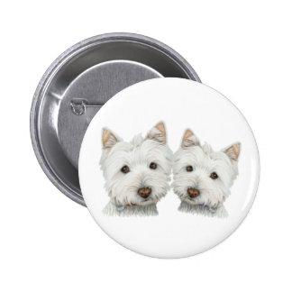 Cute Westie Dogs 6 Cm Round Badge