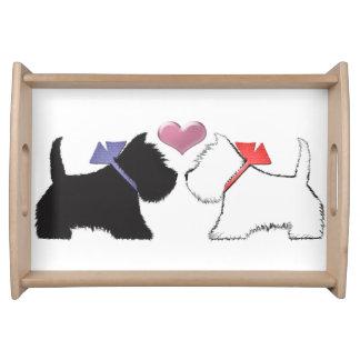 Cute Westie Dogs Art Serving Tray