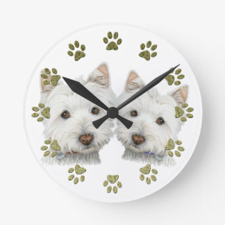 Cute Westie Dogs Clock