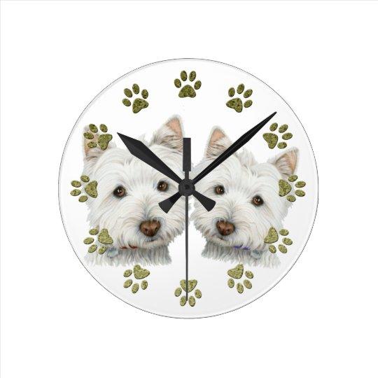 Cute Westie Dogs Clock